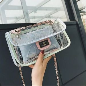 quilted transparent pvc crossbody bag